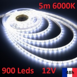 Ruban 6000K Bandeau Led Strip 5m 900 Leds de puissance 12V