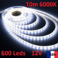 Ruban Bandeau Led Strip 10m 600 Leds de puissance 12V 6000K
