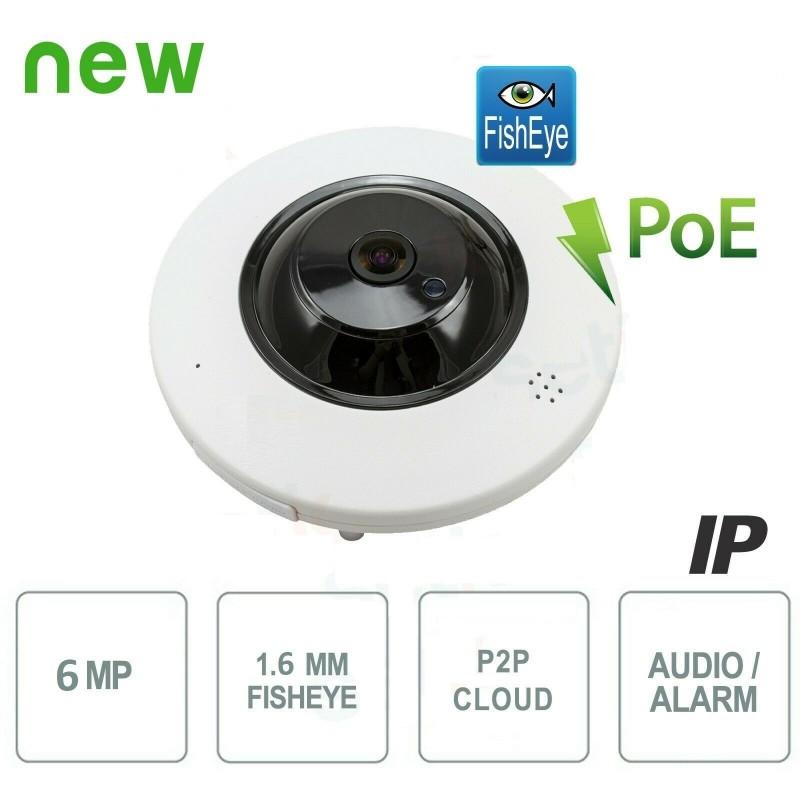 Caméra IP Dome Antivandale Métal 6MP H.265 Fisheye Audio Alarme PoE - SONY