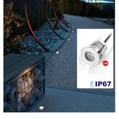 Spot Led Encastré Inox Jardin enterré Inground Underground 24V 1W Blanc Froid