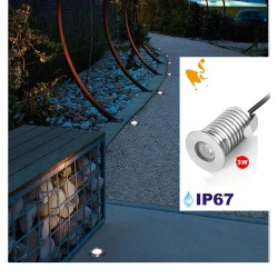 Spot Led Encastré Inox Jardin enterré Inground Underground 24V 3W Blanc Chaud