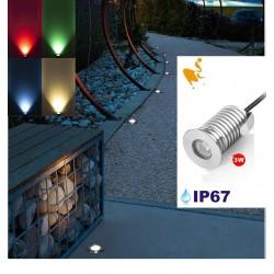 Spot Led Encastré Inox Jardin enterré Inground Underground 24V 3W RGB