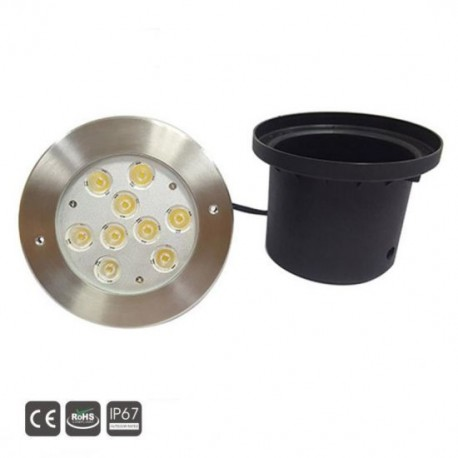 Spot Led Encastré Inox Jardin enterré Inground Underground 24V 9X3W Blanc Froid