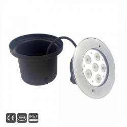 Spot Led Encastré Inox Jardin enterré Inground Underground 24V 6X3W Blanc Froid