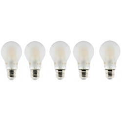 Lot de 5 Ampoules LED filament A+++ E27 6 W 600 lm Blanc chaud Opaque