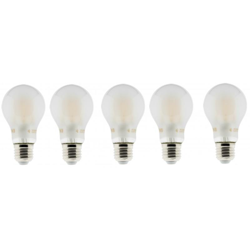 Lot de 5 Ampoules LED filament A+++ E27 6 W 600 lm Blanc chaud Opaque
