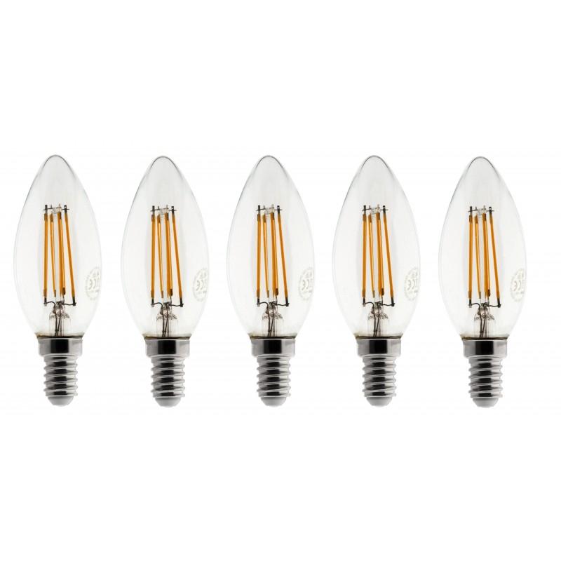 Lot de 5 Ampoules Flamme LED filament A+++ E14 3W 300lm Blanc chaud