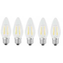 Lot de 5 Ampoules Flamme LED filament A+++ E27 3W 300lm Blanc chaud