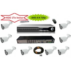 Serveur Video Surveillance AHD H264 HDD 1000 Go 8 CAMERAS 720p Haute definition