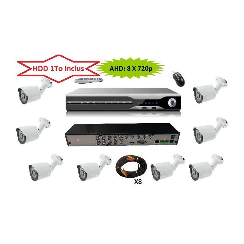 Serveur Video Surveillance AHD H264 HDD 1000 Go 8 CAMERAS 720p Haute definition