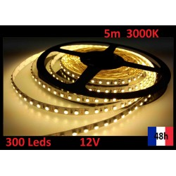 Ruban Bandeau Led Strip 5m 300 Leds de puissance 12V 3000K