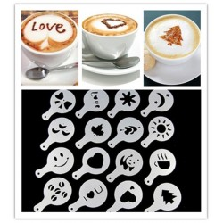 Lot de 16 ! Pochoir à café Barista Cappuccino Latte Decoration Mousse X16