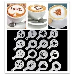 Lot de 16 ! Pochoir à café Barista Cappuccino Latte Decoration Mousse X16